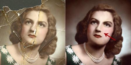 плохая реставрация черт лица на старом фото