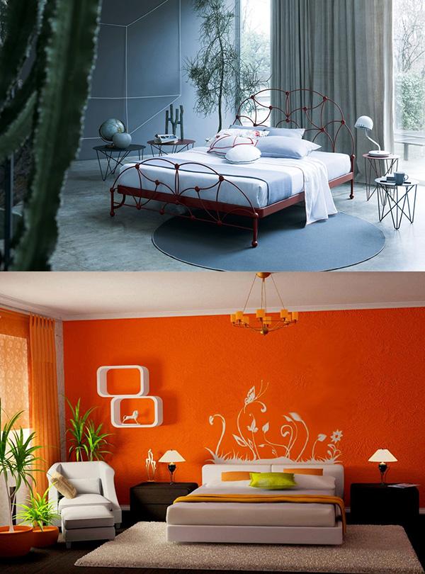 спальня в теплых или холодных тонах