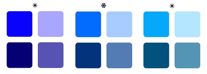 теплый синий цвет, холодный синий цвет