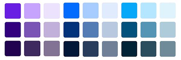 синие цвета с добавлением ахроматических