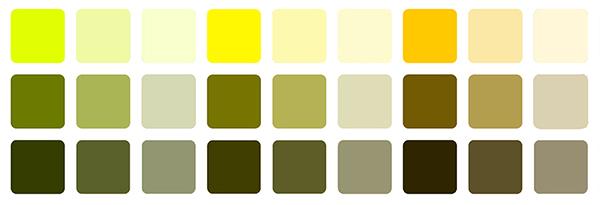 желтые цвета с добавлением ахроматических