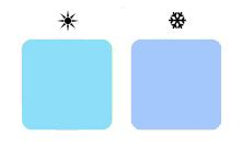 теплый и холодный голубой цвет