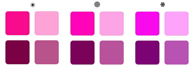 теплые и холодные оттенки пурпурного