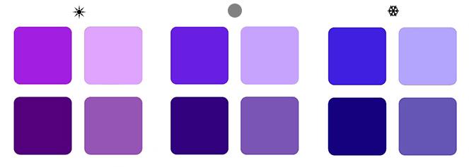 теплый фиолетовый, холодный фиолетовый