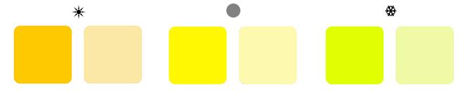теплые оттенки желтого, холодные оттенки желтого и нейтральные